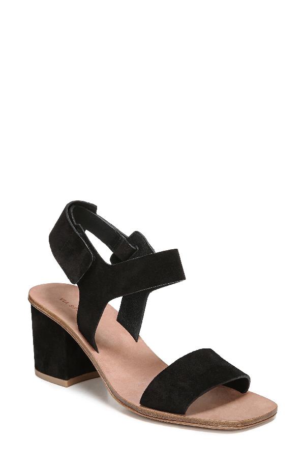 Via Spiga Women's Kamille Suede Block Heel Ankle Strap Sandals In Black Suede