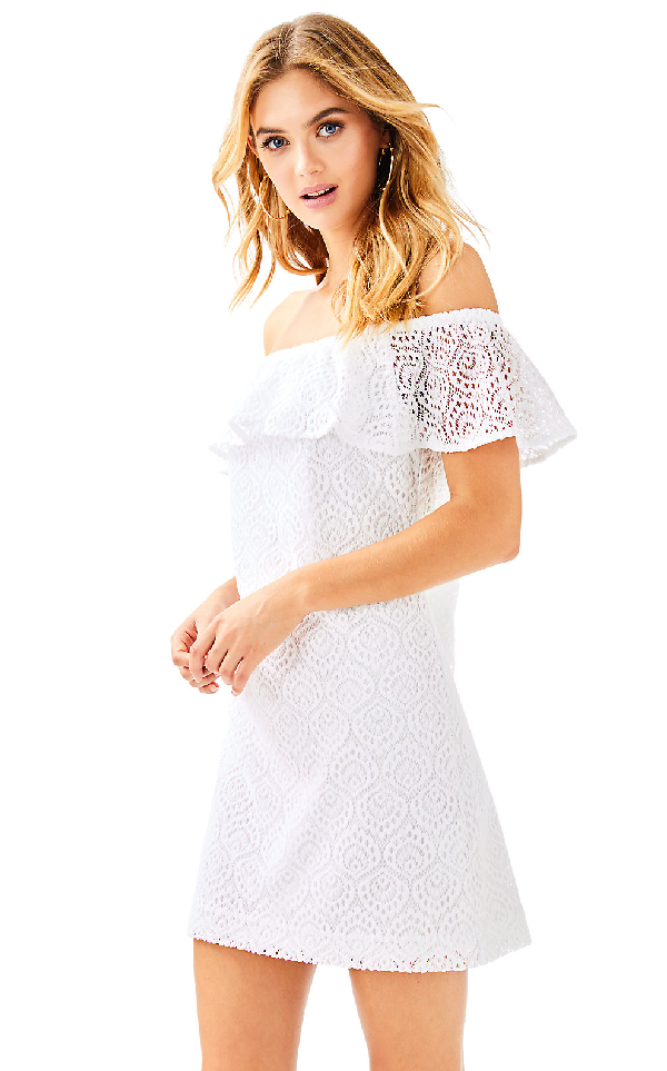 Lilly Pulitzer Womens La Fortuna Dress In Resort White Gypsea Lace