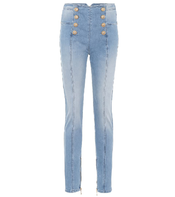 b6df60c0 Balmain Button-Embellished High-Rise Skinny Jeans In Blue | ModeSens