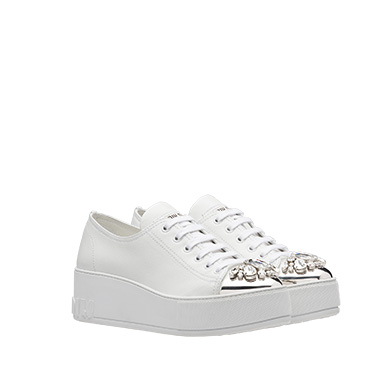 Miu Miu Women's Croc-embossed Crystal-embellished Platform Sneakers In White