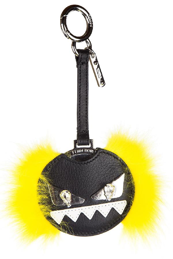 Fendi Women's Bag Charm Specchietto Vitello Dolce Occhi Mostro In Black