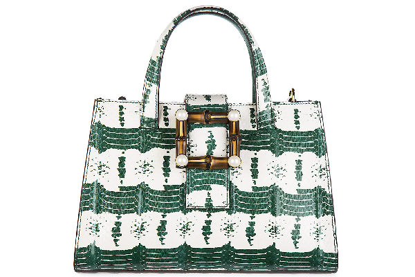 Gucci Women's Leather Handbag Shopping Bag Purse Nymphaea In Green