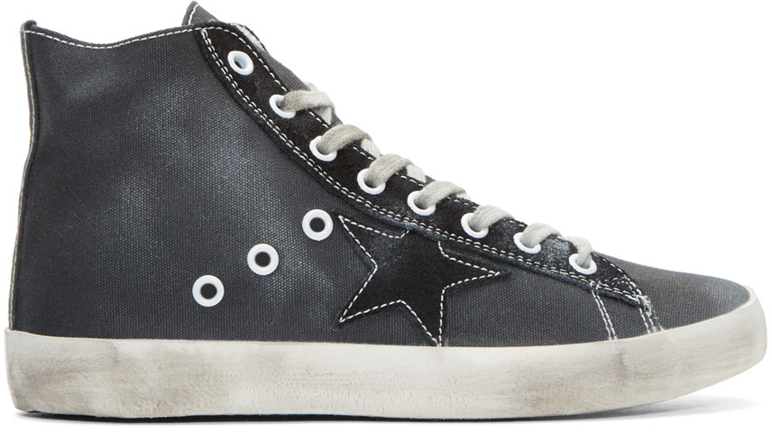 Golden Goose Black Canvas Francy High-top Sneakers In Distressed Black