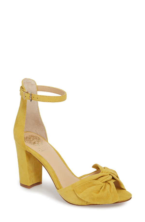 bdc68844aa07 Vince Camuto Women s Carrelen Suede Bow Block Heel Sandals In Banana Split  Suede