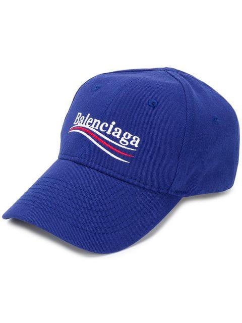 Balenciaga Politically Correct Canvas Baseball Hat In 4277 Blue