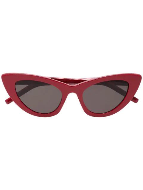 Saint Laurent White Women's Lily Cat Eye Sunglasses In Red