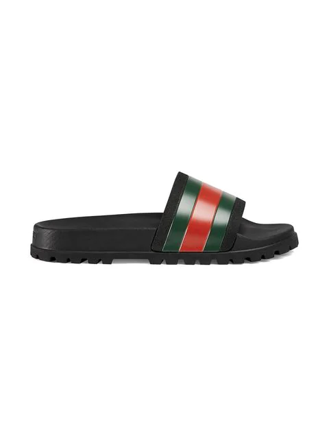 Gucci Web Striped Rubber Slide Sandals In Black