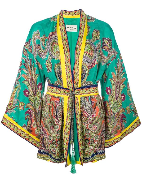 Etro Paisley Printed Silk Jacquard Jacket In Green