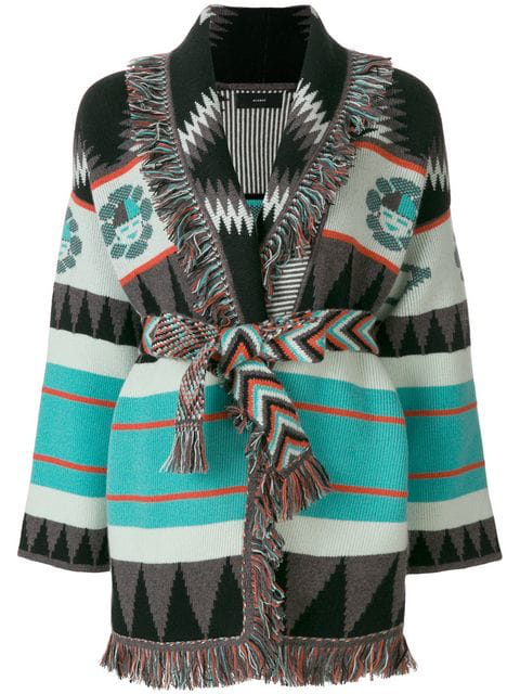 Alanui Pattern Embroidered And Fringe Trim Cardigan In Multicolour