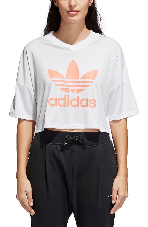 5bd78e89ebd Adidas Originals Women's Originals Eqt Trefoil Crop T-Shirt, White ...