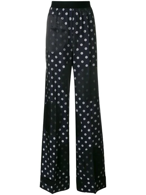 Maison Margiela High-rise Polka-dot Print Trousers In Blue