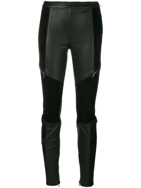 c8ab00ff0fb3a Karl Lagerfeld Leather Leggings With Suede In Black | ModeSens