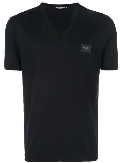 Dolce & Gabbana V-neck Cotton T-shirt With Rubberized Logo Patch In Black