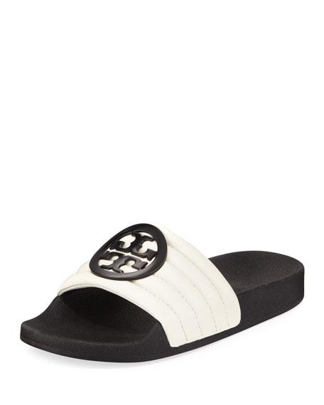9d3fd97ef74 Tory Burch Lina Logo Leather Pool Slide Sandals In Black  Ivory ...