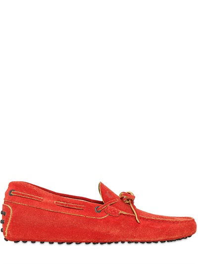 Tod's Gommino 122 Suede Driving Shoes, Orange