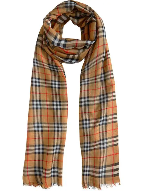 Burberry Vintage Check Wool & Silk Gauze Scarf In Brown