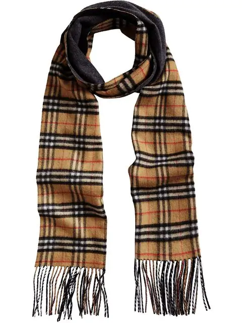 Burberry Long Reversible Vintage Check Double-faced Cashmere Scarf In Blue