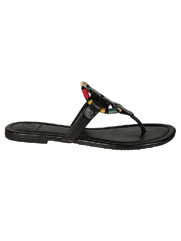 a9770d03a36f Tory Burch Miller Flat Embroidered Medallion Sandal In Black  Multi ...