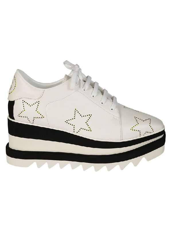 c56b74236ffa Stella Mccartney Sneak-Elyse Lace-Up Perforated-Star Platform Shoes In White