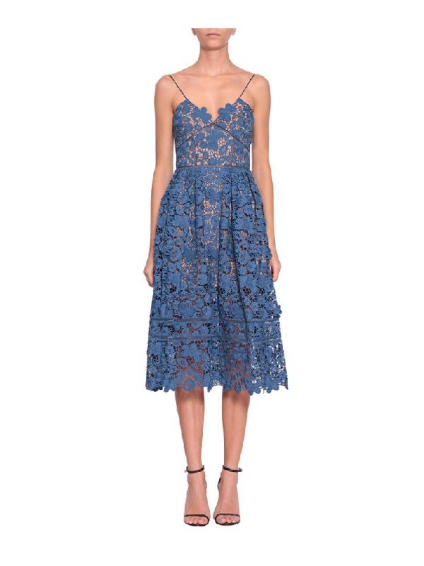 6a5d3ac60f03 Self-Portrait 3D Floral Azaelea Dress In Light Blue | ModeSens