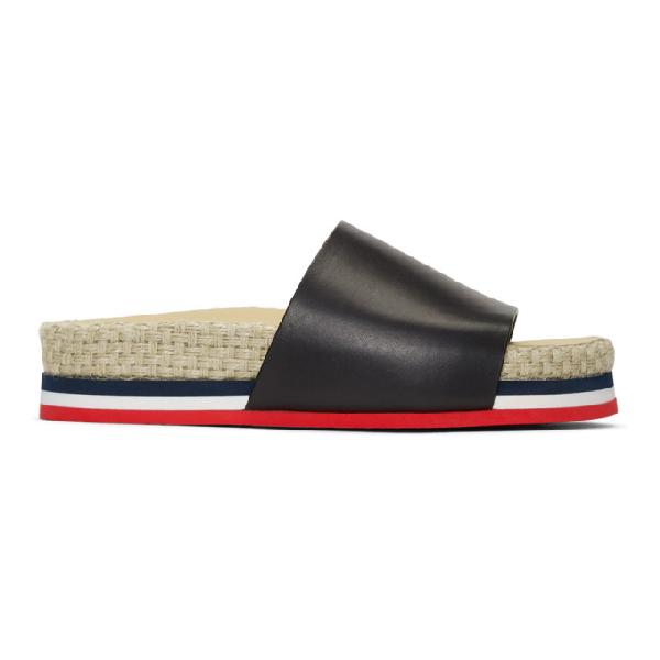 Moncler Evelyne Leather Espadrille Slides In 999 Black