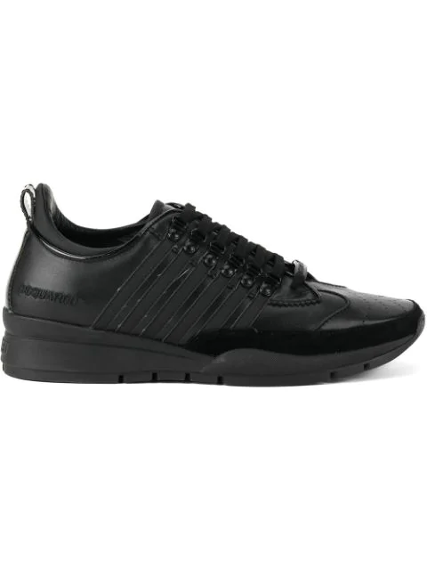 Dsquared2 Men's Shoes Leather Trainers Sneakers 251 In Black