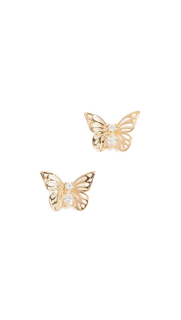 Kate Spade Social Butterfly Stud Earrings In Clear/gold