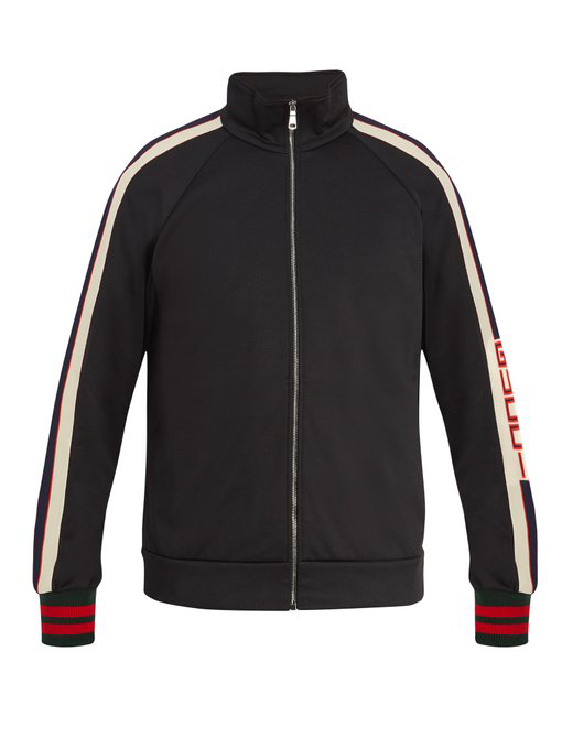 3863a8629d5 Gucci Webbing-Trimmed Tech-Jersey Track Jacket - Black In 1008 Nero ...