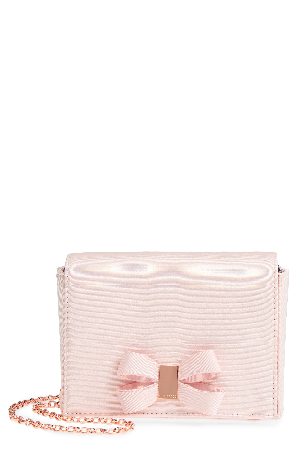 06cff609c6 Ted Baker Stacyy Looped Bow Satin Clutch In Light Pink | ModeSens