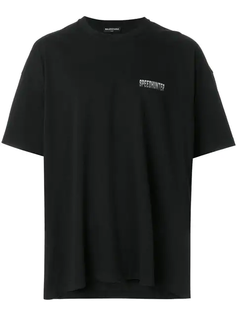 Balenciaga Black 'speedhunter' Double Hem T-shirt In 1064 Blk/gr