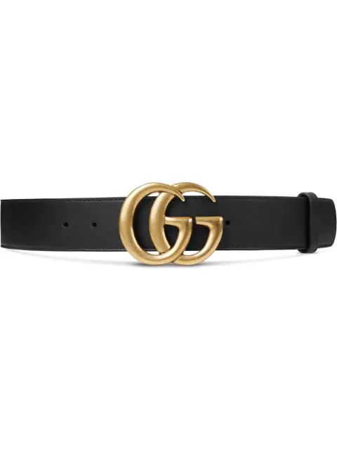 Gucci Gg Marmont Leather Belt With Shiny Buckle In Black