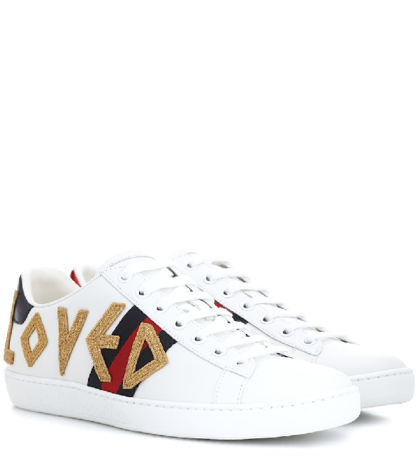 e2293ba38a7 Gucci Ladies New Ace Embroidered Leather Trainers In White
