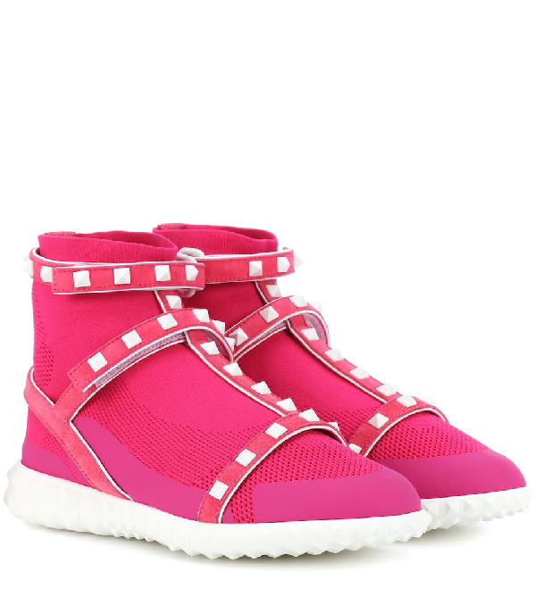 Valentino Free Rockstud High-Top Sneakers In Pink
