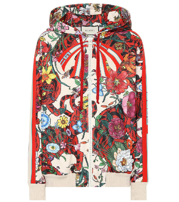 8fcf9b05277 Gucci Hooded Floral Printed Jersey Sweatshirt In Multicolour