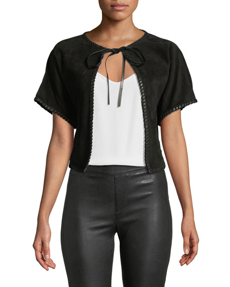 Roberto Cavalli Short-sleeve Suede Vest W/ Whipstitch Trim In Black