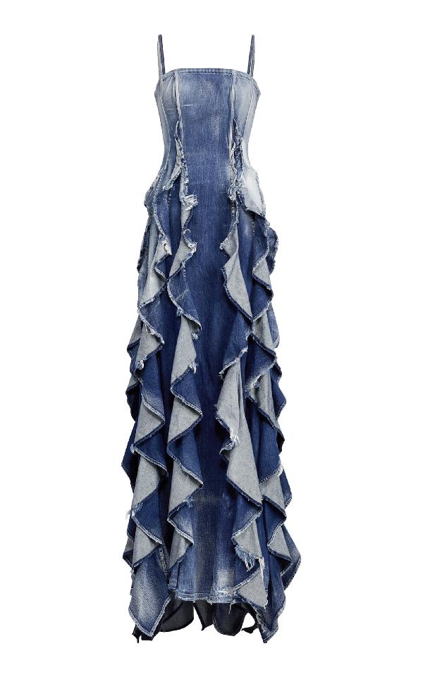 de7b1988c87d Ralph Lauren Eve Sleeveless Ruffled Denim Evening Gown In Medium Wash