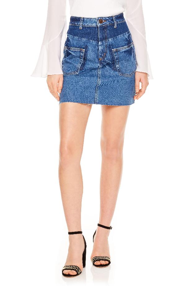 72b6e0e5fe Sandro Fadela Frayed Denim Mini Skirt In Blue | ModeSens