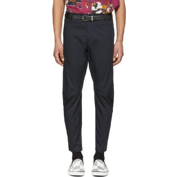 Lanvin Slim-fit Cotton-canvas Biker Trousers - Navy In 29