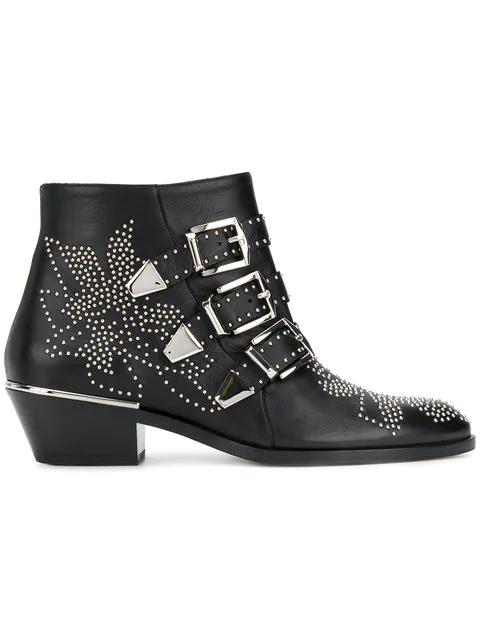 ChloÉ Women's Susanna Pointed-toe Studded Booties In Black