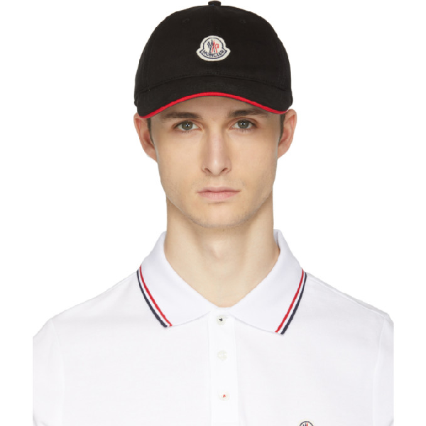 Moncler Logo Patch Cap In 999 Black