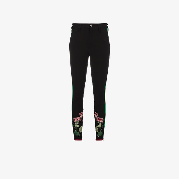 9ae4c0b1ed5 Gucci Striped Cotton Leggings With Floral Embroidery In Blue
