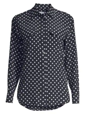 Equipment Slim Signature Polka Dot Silk Shirt In Eclipse Bright White