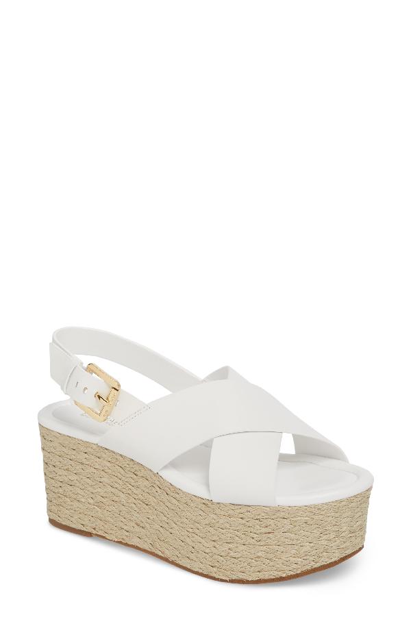 e108f43b866 Michael Michael Kors Jodi Leather Platform Wedge Espadrille Sandals In  Optic White