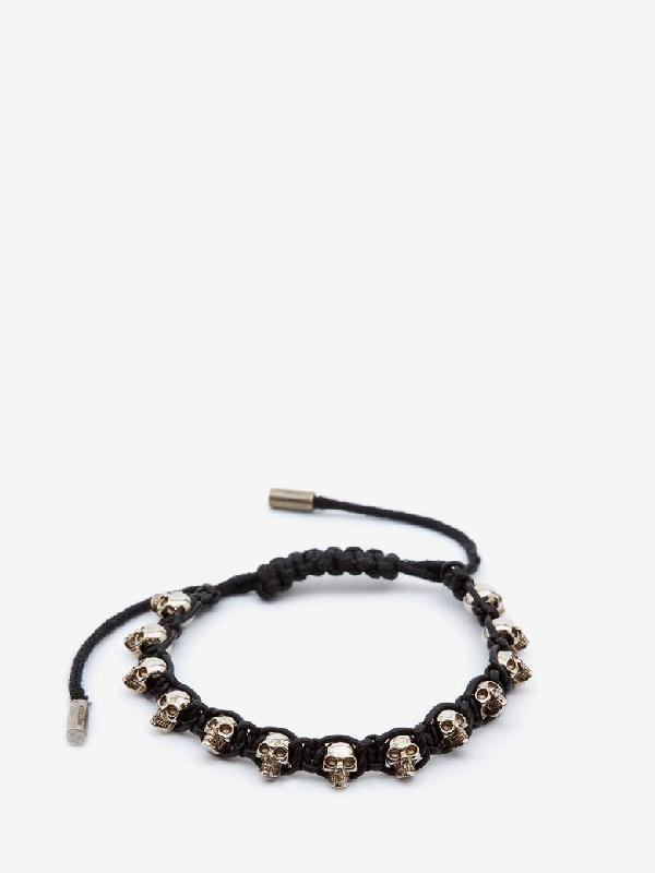 Alexander Mcqueen Multi Skull Bracelet In Black