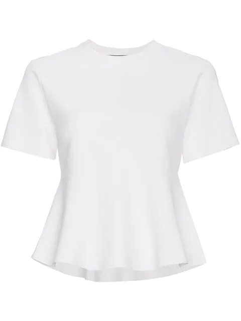 Proenza Schouler Short Sleeve Flare Knit Top In White