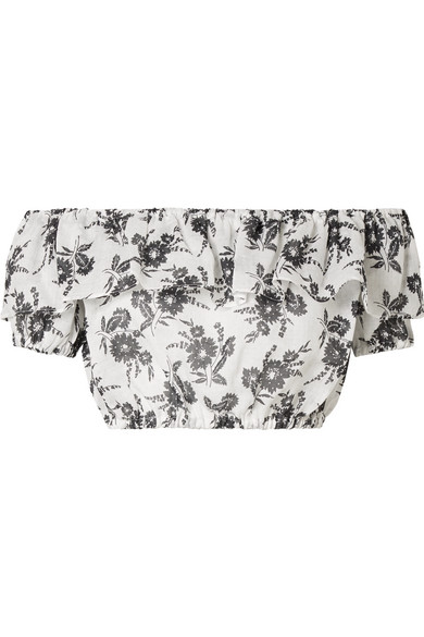 Miu Miu Cropped Off-the-shoulder Floral-print Ramie Top In White