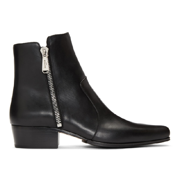 Balmain 35mm Anthos Zip Leather Ankle Boots In 176 Black