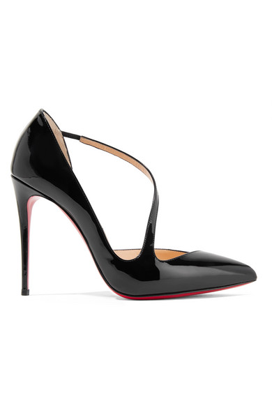 Christian Louboutin Jumping 85 Point Toe Patent Leather Pumps In Black