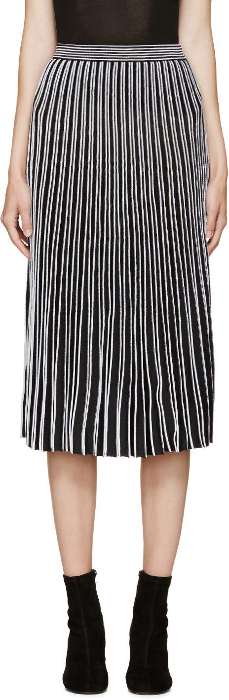 Proenza Schouler Black & White Pleated Skirt In Metallic