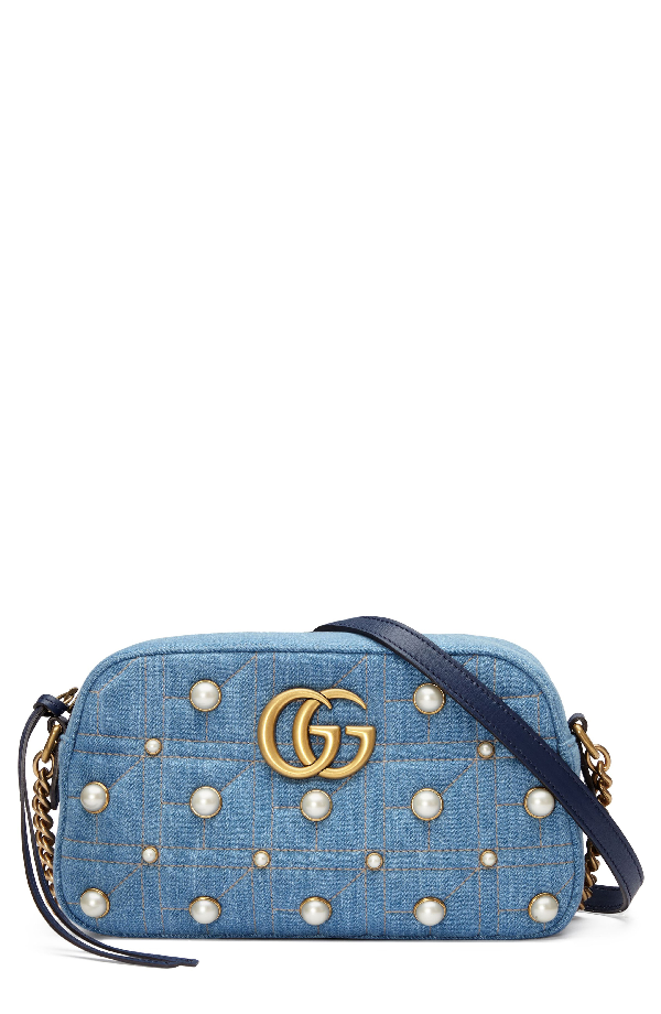 02cf1e0aacbd81 Gucci Marmont 2.0 Imitation Pearl Embellished Denim Camera Bag - Blue